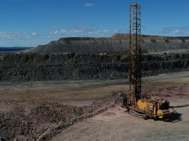 CAT drill rig at Champion Iron's Bloom Lake mine in Quebec