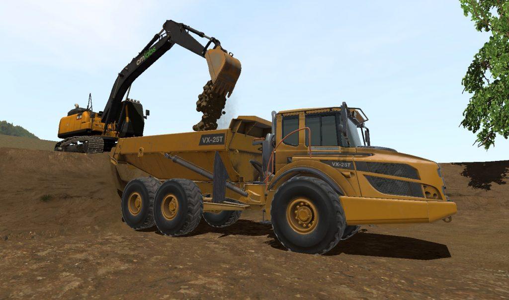 Screenshot of excavator simulator. Excavator is loading soil.