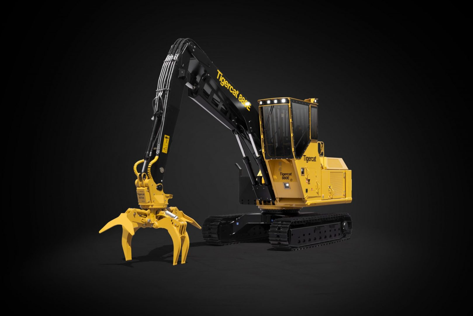 Tigercat product photo of the 880E in front of a black background
