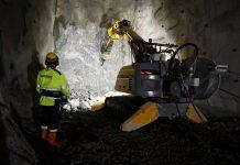 One of Brokk's remote-controlled demolition robot mining underground.