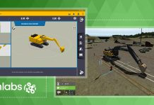 Screenshots of the the Trimble Earthworks grade control system that has been integrated into CM Labs training simulations for excavators