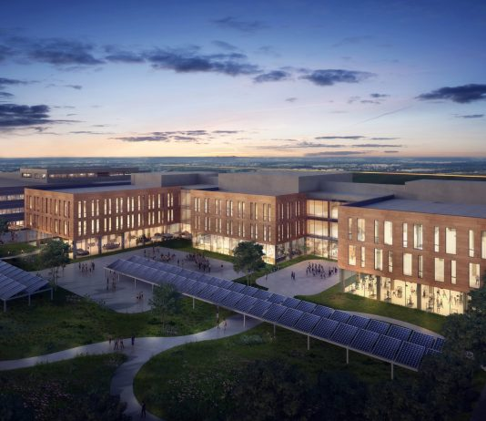 Artist's rendering of an aerial view of OPG's new headquarters.