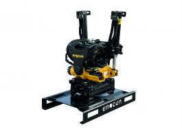 Product photo of Engcon stand for tiltrotators.